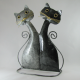 Chats métal artisanat jardin maison