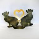 Duo chats coeur métal artisanat maison