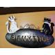 Plaque murale de bienvenue 2 chats en métal